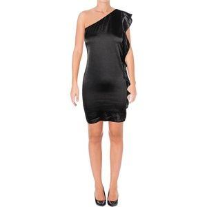 Aqua Womens Black Satin Mini Dress M